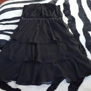 Torrid Black strapless vintage ruffle dress sz 2